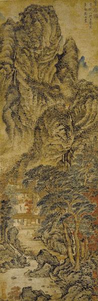 """Jednostavno utočište, drvorez Wang Menga iz XIV. stoljeća iz razdoblja dinastije Yuan. Natpis na njemu kaže: """"Ovo je naslikao Majstor s Planine žutog ždrala Wang Meng za uzvišenog učenika Jednostavnog utočišta."""""""