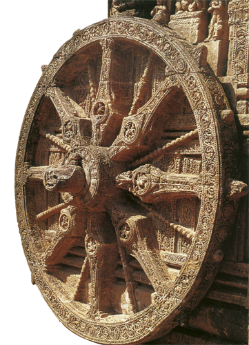 """Dharmačakra (na sanskrtu: """"kotač nauka"""") je simbol Buddhina učenja, a prikazuje se kao kotač s osam žbica koje predstavljaju osmerostruki plemeniti put."""