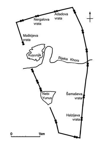 Niniva - plan zidina i ulaznih vratiju.