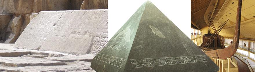 1. Na dnu zapadne strane piramide sačuvan je jedan netaknuti dio nekad veličanstvene oplate, iz kojeg je vidljivo da su ti blokovi bili veći od prosječnih i težili su oko petnaest tona. 2. Na vrhu piramide bio je postavljen ogroman piramidion, najvjerojatnije visok čak 8 metara i prema legendi prekriven zlatom. Na slici je prikazan jedan od rijetkih sačuvanih koji je puno manji od svog uzora. 3. U jamama s južne strane piramide nađene su dvije pažljivo rastavljene i složene obredne barke. Jedna je rekonstruirana i dugačka je 48 m.