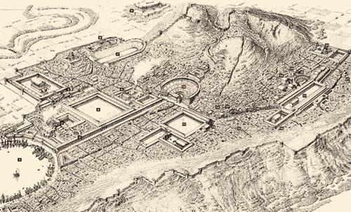 Rekonstrukcija nekadašnjeg izgleda Efeza, važne trgovačke luke na zapadnoj obali Male Azije. U XI. st. kolonizirali su ga Jonjani pod vodstvom Androkla. Grad je bio središte Artemidina kulta, a najveći dio sačuvanih spomenika potječe iz helenističko-rimskog radoblja. 1. gradska luka, 2. lučka ulica, 3. lučko kupalište, 4. lučki gimnazij, 5. Museion, 6. kazališni gimnazij, 7. stadion, 8. Vedijev gimnazij,  9. Artemidin hram, 10. kazalište, 11. trgovačka agora, 12. knjižnica, 13. javni zahodi, 14. kupališta, 15. palače, 16. Domicijanov hram, 17. agora, 18. pritanej, 19. kupališta, 20. odeon.