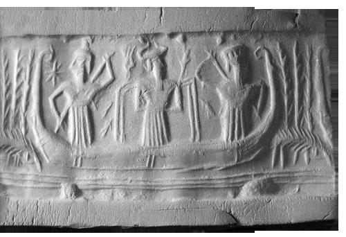 Otisak cilindričnog pečata iz razdoblja akadske dinastije. Otisak opisuje sveto putovanje boga Ee, visina pečata 2,7 cm, Muzej Louvre, Pariz.