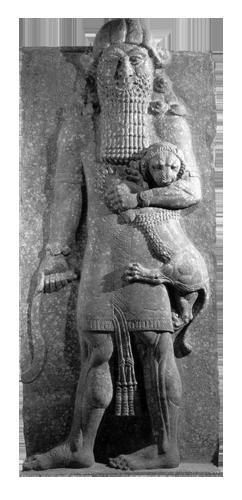 Junak svladava lava, reljef iz palače u Khorsabadu, Asirsko carstvo. Reljef visine 5,45 metara izveden je na mosulskom mramoru, a čuva se u Muzeju Louvre u Parizu.