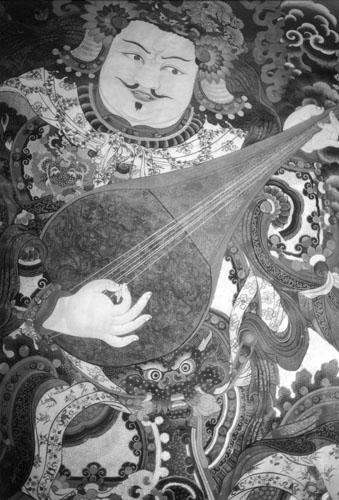 Zidna slika na ulazu u hram Jokhang u Lhasi. Na Tibetu za svaki od četiri kardinalna pravca u prostoru postoji zaštitno božanstvo. Yulkhorsoong je božanstvo koje svira lutnju i štiti hram Jokhang s istoka.