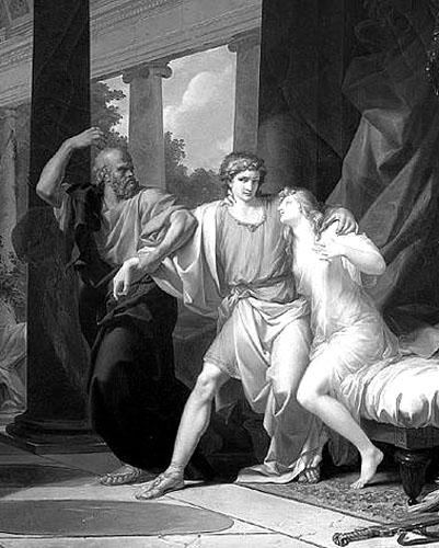 """Jean-Baptiste Regnault (1754. - 1829.): Sokrat odvlači Alkibijada iz zagrljaja """"zemaljske"""" Afrodite."""