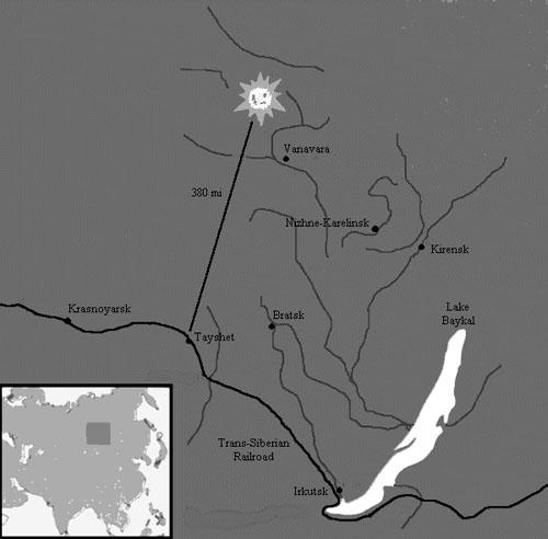 Karta s mjestom eksplozije