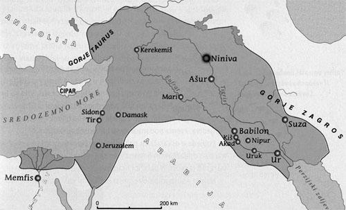 Asirsko carstvo u doba Asurbanipala (VII. st. pr.Kr.).