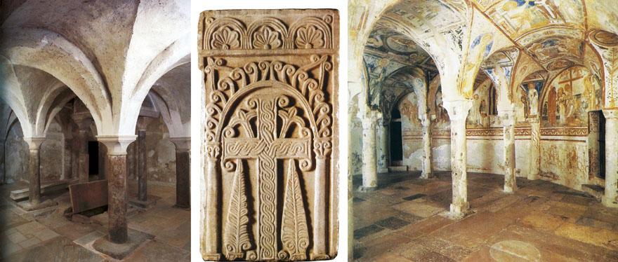 Gradnja katedrale u Novigradu oslanjala se na oblike iz svog nadređenog središta - Akvileje. Na lijevoj slici nalazi se kripta novigradske katedrale, dok je na desnoj slici kripta katedrale u Akvileji. Obje su dvorane oslonjene na četiri stupa i presvođene križnim svodovima koji ojačavaju pojasnice između stupova i polustupova.