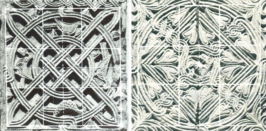Kameni namještaj predromaničkih crkvica ukrašen je plitkim reljefom komponiranim po geometrijskom načelu u mreži kvadrata.