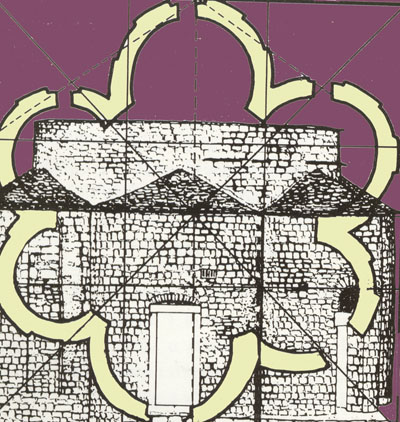 Konmodulacija cjeline i elemenata naročito je vidljiva iz preklapanja tlocrtne i nacrtne sheme. Crkva sv. Trojice, Split.