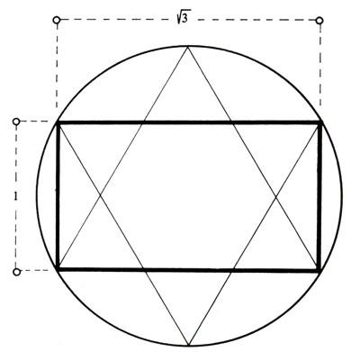 Baze Solomonovog znaka zatvaraju sa šesterokutom pravokutnik s odnosom stranica 1:√3.