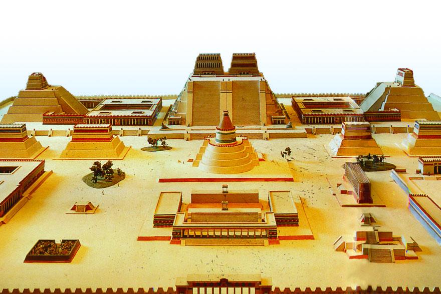 Rekonstrukcija Glavnog trga astečke prijestolnice Tenochtitlána kojim je dominirao hram posvećen  bogovima Huitzilopochtliju i Tlalocu