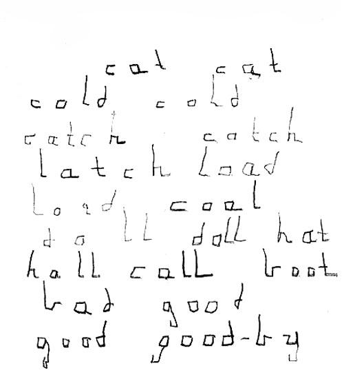 Helenini prvi pokušaji pisanja nastali prije njezinog sedmog rođendana. Slova su ponešto uglata, ali posve čitka.