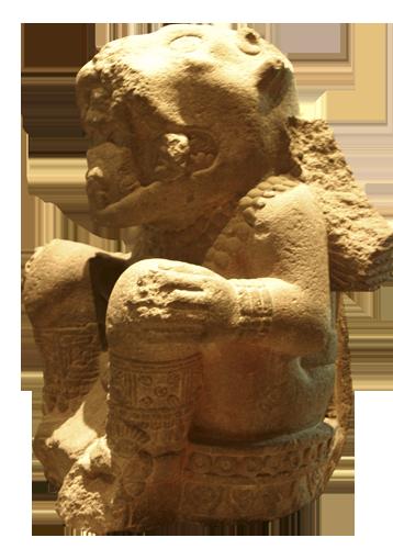 Kamena skulptura ratnika s maskom jaguara u ritualnom položaju. Astečki su se ratnici prije odlaska u rat podvrgavali strogom postu i meditacijama kako bi njihovi postupci bili ispravni i pravedni.