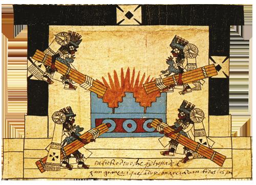 """Kodeks Borboniko Na kraju uspjele """"ceremonije nove vatre"""", svećenici su palili baklje koje su kao simbol obnove i nade glasnici odnosili do hramova i kućanstava u Tenochtitlánu."""