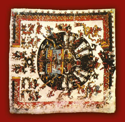 Kodeks Borgia Prikaz dragocjene posude u kojoj se pepeo Quetzalcoatla u Zemlji mrtvih transformira u novi izvor života i uzlijeće u obliku ptica bogatog perja.