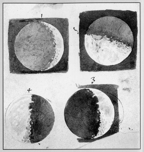Galilejev crtež površine Mjeseca kakvim ga je vidio kroz teleskop, 1609.