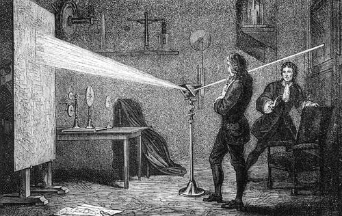 Newton u svojoj sobi u koledžu Trinity  u Cambridgeu izvodi svoje rane eksperimente vezane uz prirodu svjetla.
