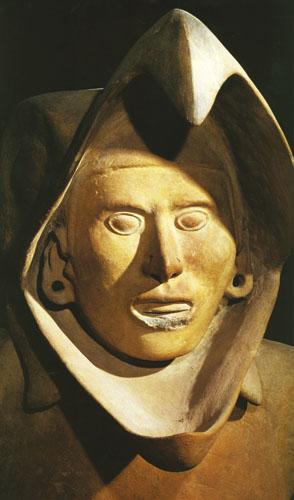 Ova skulptura od terakote iz Tenochtitlána prikazuje pripadnika viteškog reda orla.