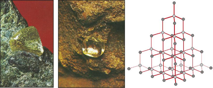Dijamant, kao i grafit, građen je od ugljika, ali za razliku od grafita ima izuzetno čvrstu kristalnu rešetku, što ga čini najtvrđim mineralom.