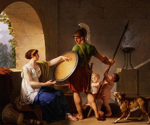 Spartanska žena daje štit svom sinu