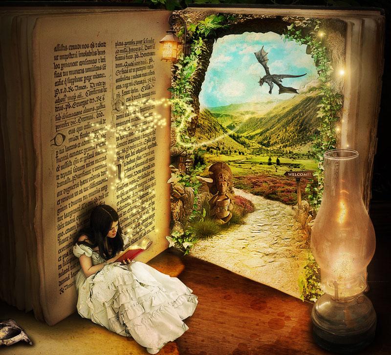 Djevojčica čita bajke