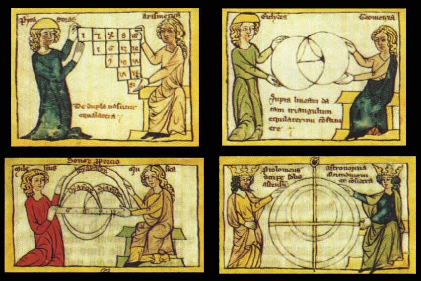 Na srednjovjekovnim crtežima četiri znanosti kvadrivijuma često su predstavljane ženskim likovima uz Pitagoru (aritmetika), Tubal- Kajina (muzika), Euklida (geometrija) i Ptolemeja (astronomija).