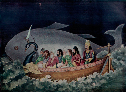 Mitovi-o-potopu-The-giant-fish-guides-Manu-through-the-water