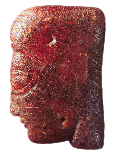 Jantarna ženska glava , VI. - V. st. pr. Kr. , Arheološki muzej Zagreb