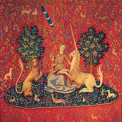 Vid, jedna od šest tapiserija iz ciklusa  Dama i jednorog, XV. st., Muzej Cluny, Pariz.