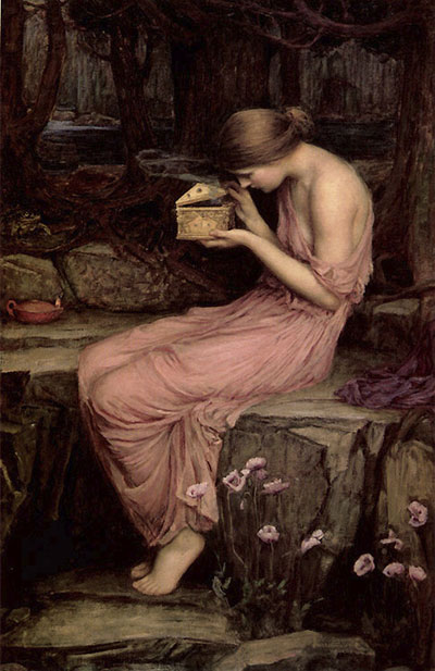 Psiha otvara zlatnu kutiju, John William Waterhouse