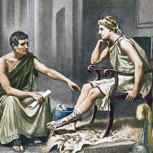 Aristotel podučava Aleksandra Makedonskog